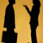 Man and woman speaking