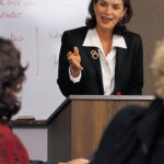 Women at podium